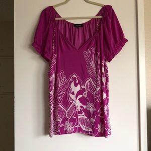 Karen Kane fuschi floral blouse